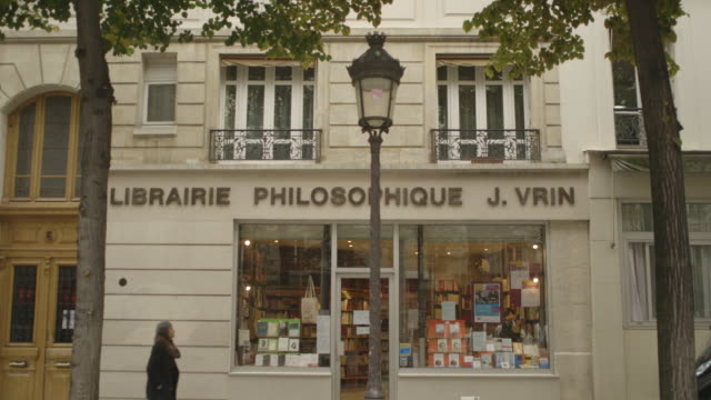 Shot showing the front of an academic bookshop in the Sorbonne area of Paris France FKAX912P Clip taken from programme rushes ABMA938F