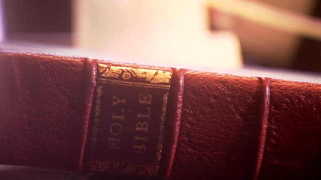 ECU Shot spine of book saying HOLY BIBLE while  out of focus hand flips pages / Fairfax Station, Virginia, United States