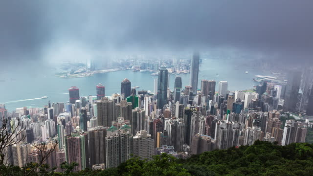 3 Shot T/L Time Lapse of Hong Kong skyline Victoria Peak.