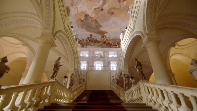 pov shot up stairs at würzburg residence, germany - palace stock videos & royalty-free footage