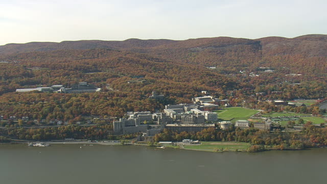 WS AERIAL ZI DS Shot West Point Military Academy at near river / New York, United States