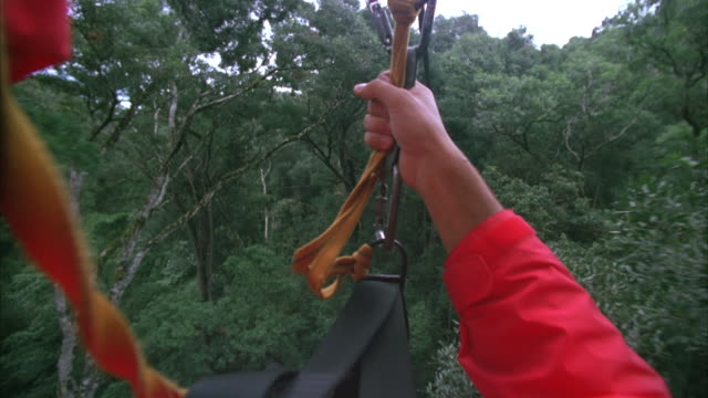 pov shot while on a canopy tour, or canopy zip lining - zip line stock videos & royalty-free footage