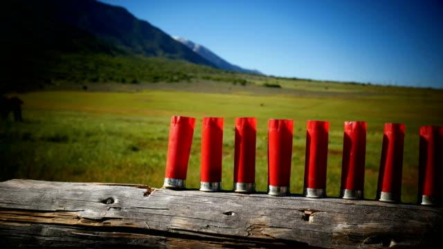 schrotflinte kugeln am schießstand in usa - gewehr stock-videos und b-roll-filmmaterial