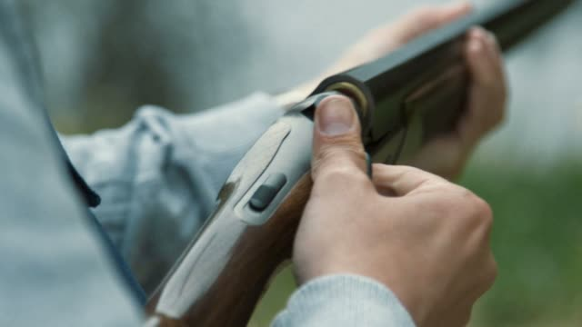 shotgun (slow motion) - clay pigeon shooting stock videos and b-roll footage