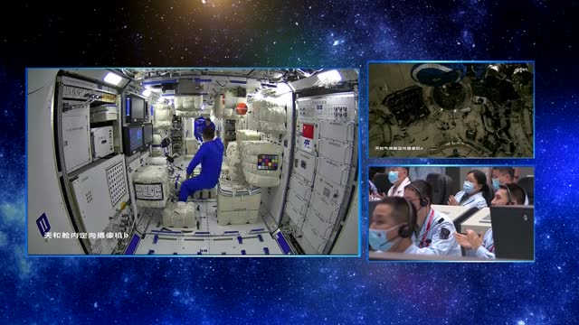 three-module complex composed of shenzhou-12 spaceship, tianhe core module, tianzhou-2 cargo craft. storyline three chinese astronauts on board the... - 12 17 months stock videos & royalty-free footage