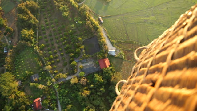 2 shots Aerial view of hot air balloon.