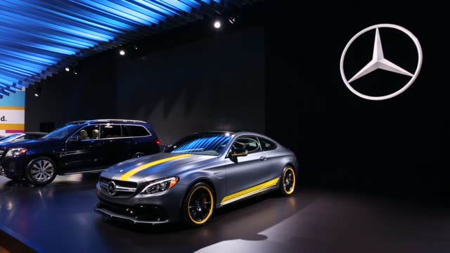 Shots focus on the MercedezBenz section of the Los Angeles Auto Show held at the Los Angeles Convention Center in Los Angeles California on November...