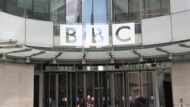shots from bbc broadcasting house in london as the company's top earners of 2018/19 are revealed shots of molly king and matt edmondson arriving - bbc stock videos & royalty-free footage