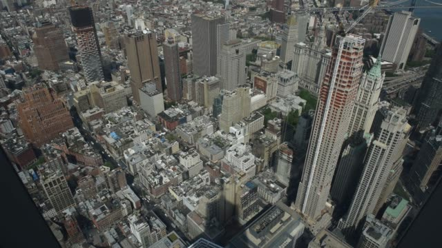 shots from the new one world observatory atop one world trade center in lower manhattan, ny usa shot may 26, 2015 shots: various shots look down from... - world trade center manhattan stock videos & royalty-free footage