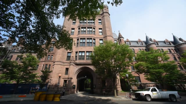Shots in the area of Yale University referred to as the Old Campus in New Haven CT shot June 12 2015 Shots Wide shots of Phelps Hall Vehicle traffic...