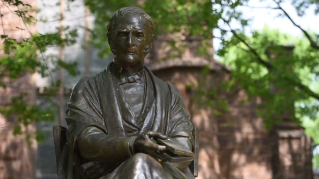 Shots in the area of Yale University referred to as the Old Campus in New Haven CT shot June 12 2015 Shots Close up shots of a statue of Theodore...