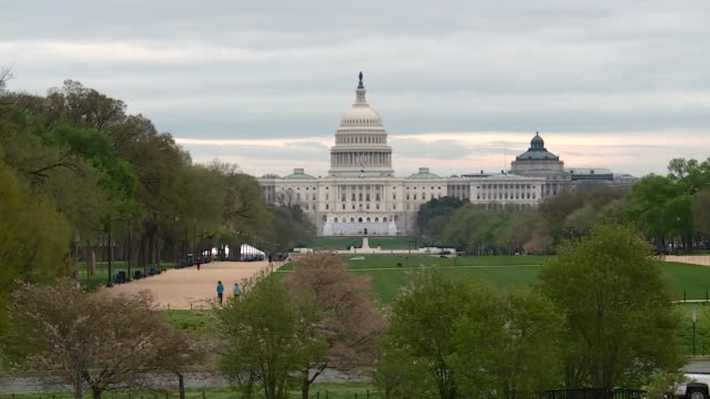 shots of a near empty dc landmarks normally full of locals and tourists, empty as coronavirus lockdown measures went int force in the us capital - washington monument washington dc stock videos & royalty-free footage
