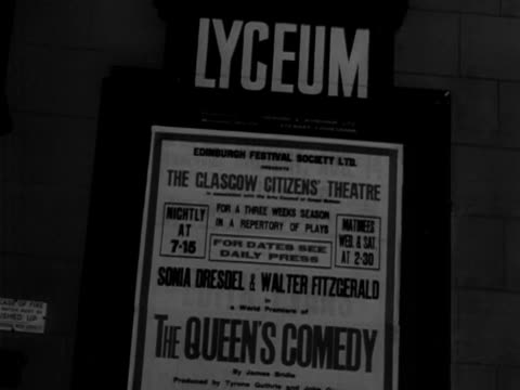 shots of a poster for the lyceum theatre advertising upcoming performances for the edinburgh festival september 1950 - poster stock videos & royalty-free footage