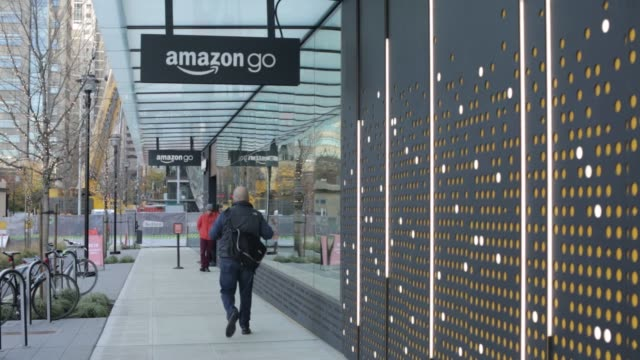 Shots of an Amazon Go store in Seattle Washington on December 6 2016 Shots wide exterior shot of Amazon Go location shot of Amazon go window and side...