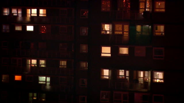shots of apartment building exterior at night, dundee - flat stock videos & royalty-free footage