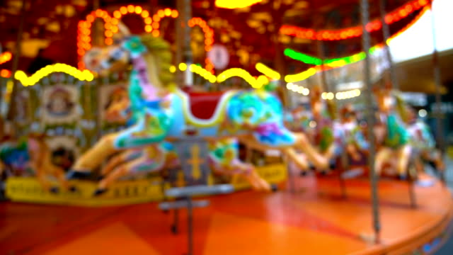 3 shots of blurred carousel hourse circus. - roundabout stock videos and b-roll footage