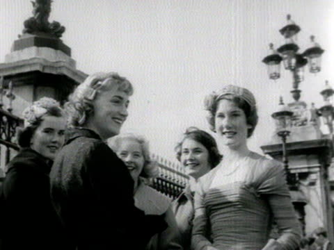 shots of debutantes and their families queueing outside buckingham palace 1958 - debutante stock videos & royalty-free footage