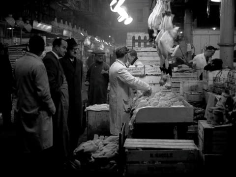 shots of general activity within smithfield poultry market 1953 - butcher stock videos & royalty-free footage