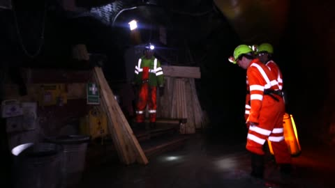 stockvideo's en b-roll-footage met shots of inside the curraghinalt gold project as workers encounter an underground diamond drill rig , operated by dalradian resources inc., near... - kostbare edelsteen