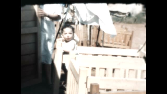 Shots of nursery at Kibbutz Maayan Baruch in the Upper Galilee from an archival home movie just after the Israel War of Independence in 1948