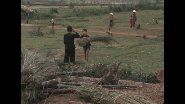 shots of people living in a small village in vietnam's quang nhai province near to where the my lai massacre took place - massenmord stock-videos und b-roll-filmmaterial