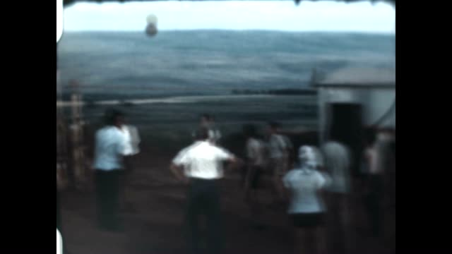 Shots of playing vollyball at Kibbutz Maayan Baruch in the Upper Galilee from an archival home movie just after the Israel War of Independence in 1948