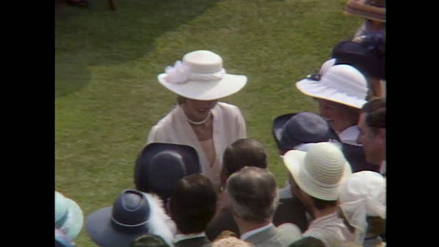 shots of queen elizabeth ii and princess diana meeting people at the royal garden party and high angle shots of the crowds on a hot summer day. - english culture stock videos & royalty-free footage