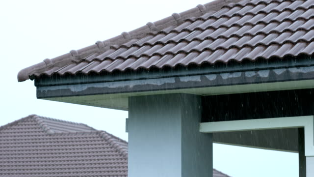 2 shots of raining on house roof. - gutter stock videos and b-roll footage