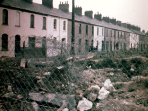 shots of slum houses in the butetown area of cardiff. 1968. - wales stock videos & royalty-free footage