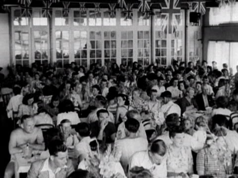 Shots of the busy dining hall at the Coronation holiday camp on Hayling Island 1948