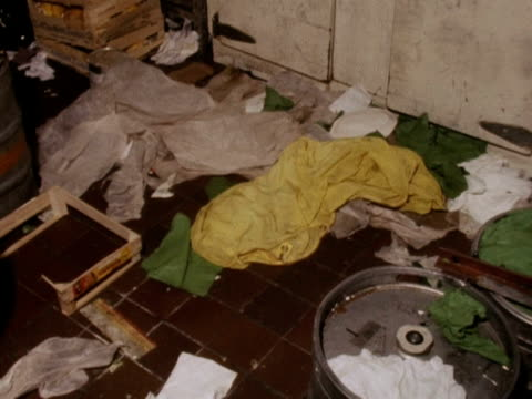 shots of the storeroom in the spaghetti house restaurant where seven hostages were held by three gunmen 03 october 1975 - spaghetti video stock e b–roll