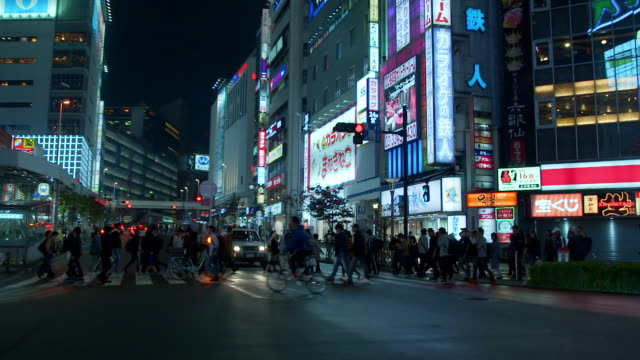 POV shots of wide streets at night, Tokyo