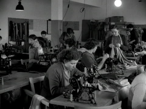 Shots of women working in a dress factory in Remagen 1955