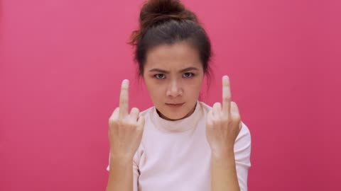 shouting woman isolated pink background 4k - shouting stock videos & royalty-free footage