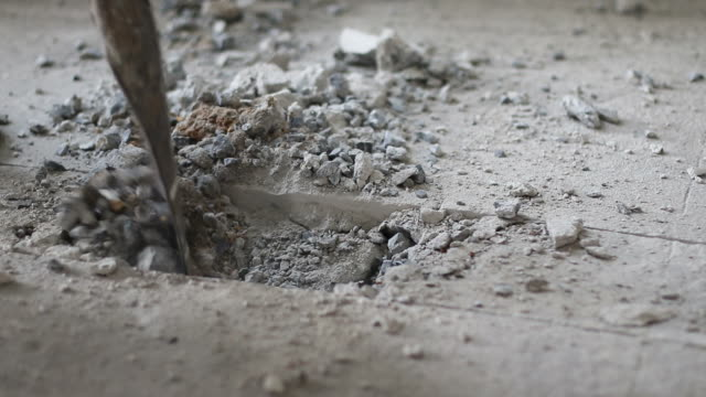 shovel spade destroyed concrete. - strike industrial action stock videos & royalty-free footage