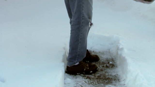 shoveling snow (hd) - spade stock videos & royalty-free footage