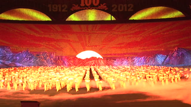 a show at a stadium in north korea - north korea stock videos & royalty-free footage