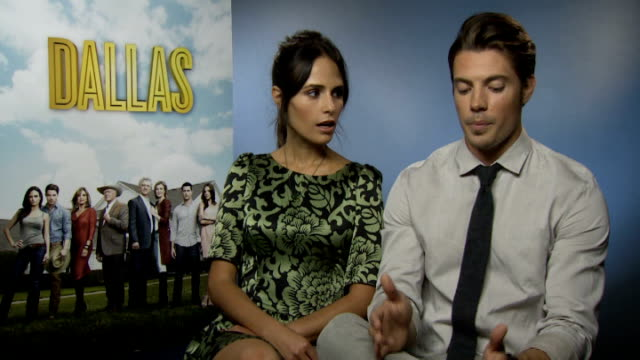 dallas launch: cast interviews; england: london: int josh henderson and jordana brewster interview sot patrick duffy and brenda strong interview sot - jordana brewster stock videos & royalty-free footage
