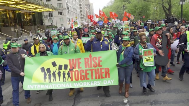 show here are members of local 372 – nyc board of education employees afscme new york city international workers day demonstrators gathered at... - trade union stock videos & royalty-free footage