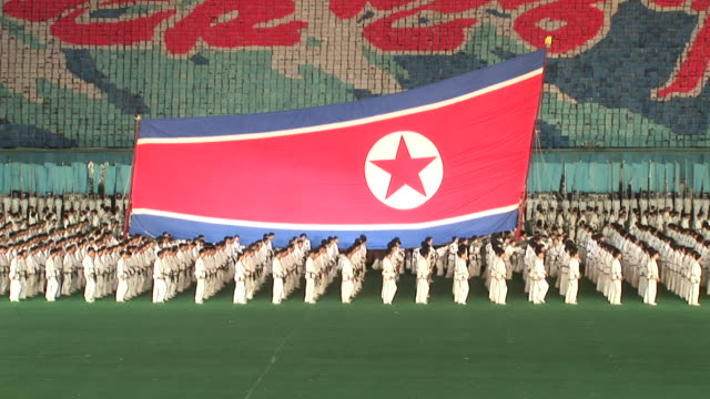 a show in a stadium in north korea - north korea stock videos & royalty-free footage