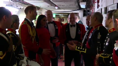 stockvideo's en b-roll-footage met show interior shots meghan, duchess of sussex and prince harry duke of sussex meeting performers backstage at the royal albert hall for the... - royal albert hall