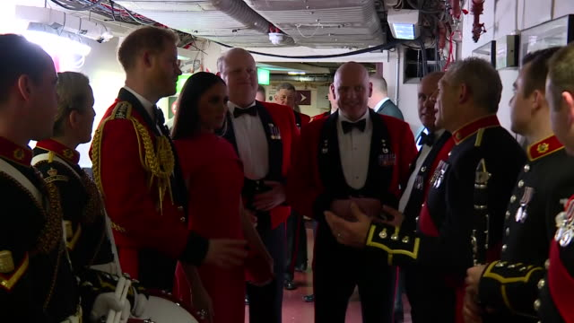 show interior shots meghan, duchess of sussex and prince harry duke of sussex meeting performers backstage at the royal albert hall for the... - royal albert hall stock videos & royalty-free footage