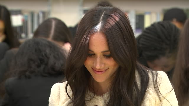 show interior shots meghan, duchess of sussex sitting with pupils in a lesson at robert clack upper school in dagenham, east london, tonight the duke... - prince harry stock videos & royalty-free footage