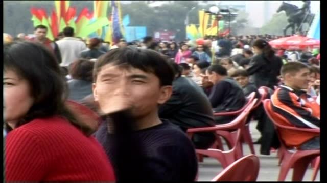 kazakhstan people speak out against comedy creation 'borat'; *uk rights only, no international use* astana: crowd of kazakh people kazakh man with... - borat sagdiyev stock videos & royalty-free footage