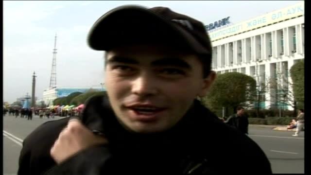 kazakhstan people speak out against comedy creation 'borat'; *uk rights only, no international use* close up of kazakh man speaking sot kazakh man... - borat sagdiyev stock videos & royalty-free footage