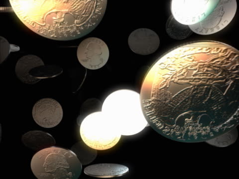 shower of united states quarter coins - quarter stock-videos und b-roll-filmmaterial