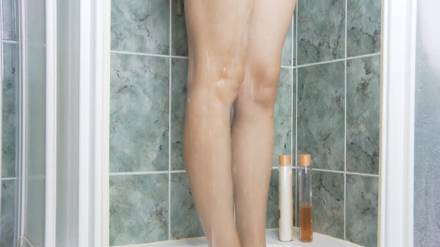 hd dolly: shower relaxation - naked stock videos and b-roll footage