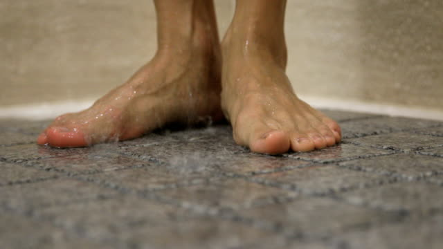 showering in the bathroom - human foot stock videos and b-roll footage