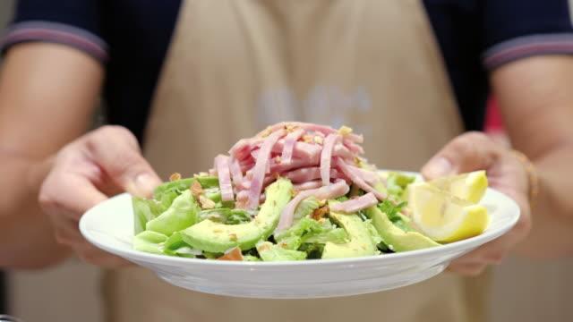 showing avocado ham salad - avocado salad stock videos & royalty-free footage