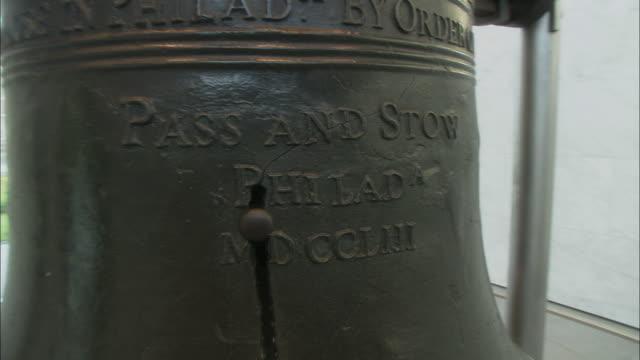 cu tu td showing crack in liberty bell / philadelphia, pennsylvania, usa - liberty bell stock videos & royalty-free footage